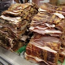 smoked bacon at Yoders Meat & Cheese