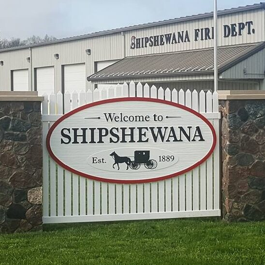 shipshewana gateway sign at fire station